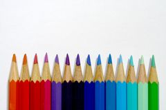 Color pencils. Upright colored wooden crayons Royalty Free Stock Images
