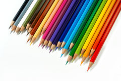 Color Pencils - 6. An assortment of color pencils on white background Stock Photography