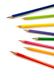 Color Pencils - 7. An assortment of color pencils on white background Royalty Free Stock Photography