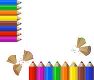 Color Pencils. Background with color pencils and shavings stock illustration
