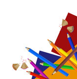 Color Pencils. Background with color pencils, shavings and colored papers vector illustration