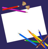 Color Pencils. Background with color pencils, shavings and a blank paper royalty free illustration