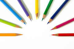Color Pencils - 8. An assortment of color pencils on white background Stock Image