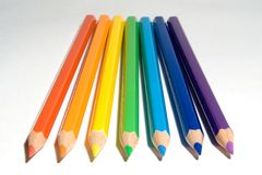 Color pencils. Seven pencils of color of a rainbow Royalty Free Stock Photo