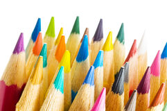 Color pencils. In arrange in color wheel colors on white background Royalty Free Stock Photo