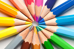 Color Pencils abstract. Color Pencils arranged in a circle abstract Stock Image