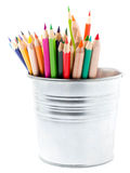 Color pencils in aluminum jar or mini bucket isolated on white b Royalty Free Stock Photos
