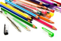 Color Pencils And Pens Stock Photos