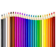 Color pencils in arrange in color row Stock Images