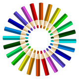 Color pencils in arrange in color wheel colors on white backgrou Royalty Free Stock Photo