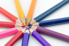 Color pencils in arrange in color wheel colors on white backgrou Stock Photography