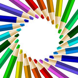 Color pencils in arrange in color wheel colors on white backgrou Stock Photos