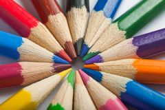 Color pencils in arrange in color wheel colors Stock Photography