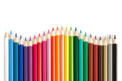 Color pencils in arrange in color wheel colors white background Stock Photo