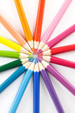 Color pencils in arrange in color wheel colors white background Stock Image