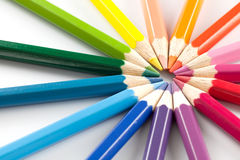 Color pencils in arrange in color wheel colors white background Stock Photography
