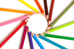 Color pencils arranged in circle Royalty Free Stock Image