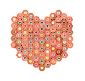 Color pencils arranged in heart shape  isolated Stock Photos