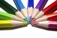 Color pencils as half-circle. Half-circle of colour pencils isolated on white background Stock Photography