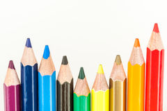 Color Pencils. An assorted set of color pencils on a white background Royalty Free Stock Photo