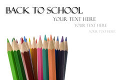 Color pencils with Back to School text Royalty Free Stock Image