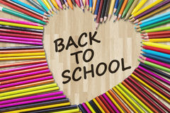Color pencils with Back to School text Royalty Free Stock Images