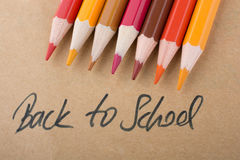 Color pencils and back to school title Stock Photos