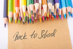 Color pencils and back to school title Royalty Free Stock Images