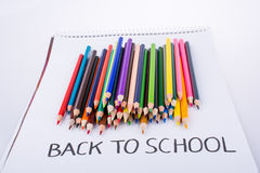 Color pencils and back to school title Royalty Free Stock Photography