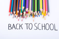 Color pencils and back to school title Stock Photography