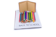 Color pencils and back to school title Stock Image