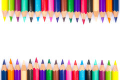 Color pencils background. Spectrum of color pencils on white background Stock Photography