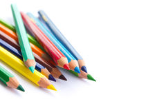 Color pencils background. Spectrum of color pencils on white background Royalty Free Stock Image