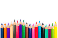 Color pencils background. Spectrum of color pencils on white background Stock Photo
