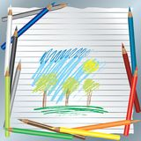 Color pencils background. Background with children drawing and color pencils stock illustration