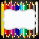 Color pencils background with blank banner Royalty Free Stock Image