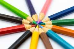 Color pencils on with background. Image use for idea, art concept. Color pencils on with background. Image use for idea, art concept Royalty Free Stock Photo