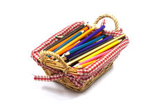Color pencils in  basket Royalty Free Stock Photography