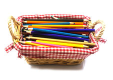 Color pencils in  basket Stock Photography