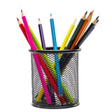 Color pencils in the basket Stock Image