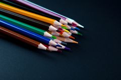 Color pencils on black background Stock Photography