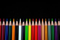 Color pencils on black background Royalty Free Stock Photography