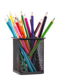 Color pencils in black metal container Stock Image