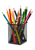 Color pencils in black metal container Stock Photography