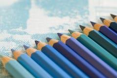 Color pencils in blue Stock Photos