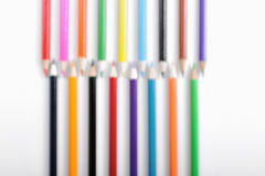 Color pencils in blur. On white background stock photo