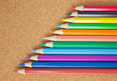 Color pencils. Color pencils on board Royalty Free Stock Photo