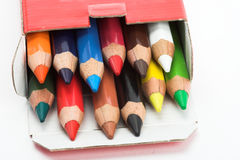 Color pencils in the box Royalty Free Stock Photos