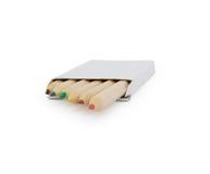Color pencils into the box Stock Photo