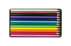 Color pencils in the box Stock Image